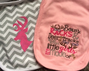 IN STOCK Baby Girl Hunting Bib & Burp Cloth Gift Set Embroidery, Ready to Ship