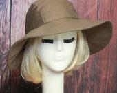Wide Brim Hat, Sun Hat, Boho Hat, Floppy Hat, Travel Hat, Packable Hat, Cotton Brown Twill Hat
