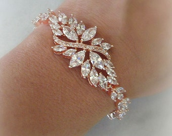 Rose Gold Bracelet, Swarovski Crystal Bridal Bracelet, Cubic Zirconia Wedding Bracelet - DE L'OR ROUGE