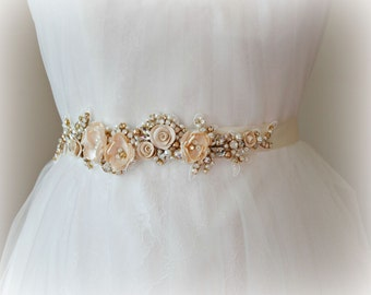 Luxe Champagne Skinny Sash, Gold Bridal Sash, Flower Wedding Belt with Swarovski Crystals and Pearls - ALESSANDRA