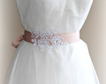 Blush Pink Bridal Sash, White or Ivory Lace Bridal Belt, Bridesmaid, Custom Colors - CHERI