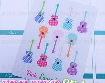 Colorful Guitars - cute girly patterned acoustic guitars - printed kiss cut stickers for your planner or calendar - mini sampler sheet MATTE