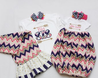 Big Sister Shirt and Matching Ruffle Pants and Coordinating Little Sister Bodysuit Gown - With Coordinating Hairbows - Chevron Arrows