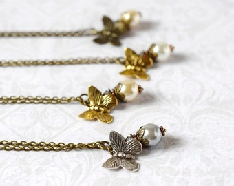 Butterfly Pearl Necklace Ivory White Pearl Pendant Winged Butterfly Necklace Bohemian Bride Bridesmaids Boho Necklace Nature Jewelry Wedding