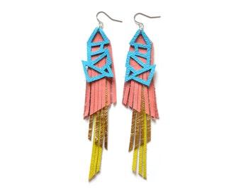 Fringe Leather Earrings, Colorful Geometric Earrings, Teal Peach Gold Earrings, Color Block Earrings, Long Earrings, Statement Earrings
