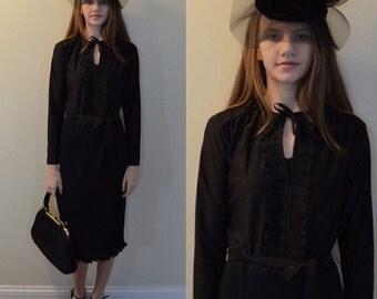 Vintage Windsor Black Dress, 1960s Black Dress, Vintage Casual Dress, Windsor, 1960s Dress, Crystal Pleated Dress, Casual Dress