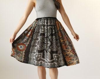 Neutral Black and Gray Paisley Floral Boho Midi Dress - Eco Friendly Womens Apparel by Tammy Jo Fashion