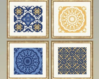 Mustard Cream Light blue & Navy Blue Floral  Mandala wall art- Set of 4 Choose size! Modern gallery prints-Made in USA