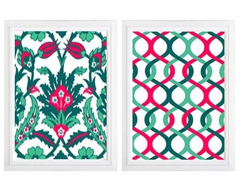 Ikat  Emerald Green Teal Coral Floral Ikat Geometric wall art print- Set of 2 Choose size! Modern gallery prints-Made in USA