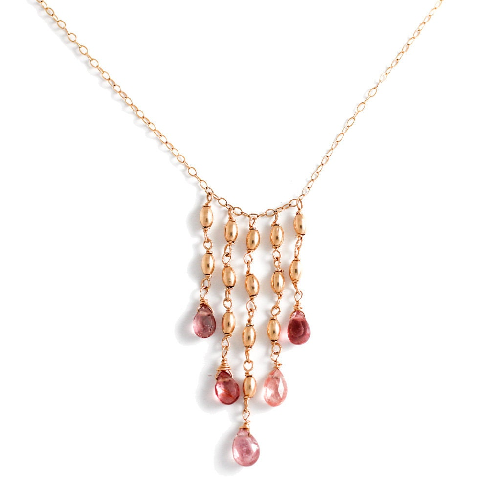 pink tourmaline long gold necklace pink tourmaline cascade. Black Bedroom Furniture Sets. Home Design Ideas