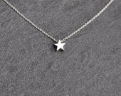 Tiny star charm necklace on delicate sterling silver chain modern everyday minimal, sterling silver star necklace