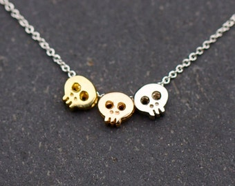 3 Skull necklace :  your choice of charms on chain of your choice, custom skull necklace, custom skull jewelry