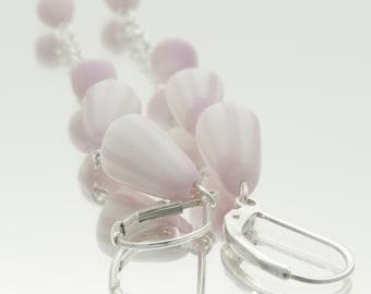 Dusty Pink  Long Dangle Earrings , Porcelain  Sterling Silver Drop Earrings, Femine Elegant Unusual Earrings  , Pink  Porcelain Flowers