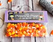 Halloween Treat Bag Topper / Pumpkin Poop Treat Bag Toppers / Pumpkin Treat Topper / Halloween Pumpkin Treat Topper / Pumpkin Poop Treat Bag