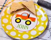 Personalized Melamine Plate / Personalized Monster Truck Plate / Personalized Plates for kids / Kids Personalized Plate Monster Truck Design