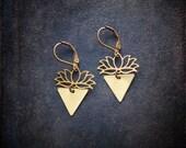 Minimal Geometric Brass Lotus Earrings