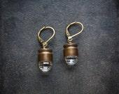 Industrial Bullet Crystal Earrings Bullet Shell Brass Bullet Crystal Clear Faceted Ball Bead Edgy Punk Earrings Short Bullet Earring