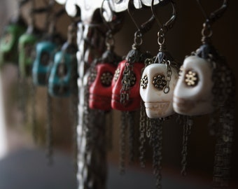 Olive Green Skull Zombie Earrings with Antique Brass Chain
