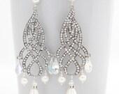 Bridal Chandelier Earrings, Silver Chandelier Earring, Pearl Chandelier Earring Wedding, Pearl and Crystal Earring,  Victorian Style Earring