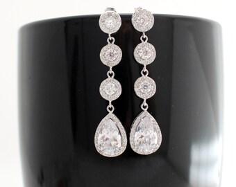 Cubic Zirconia Earrings, Statement Wedding Earrings, Wedding Teardrop Earrings, Bridal Statement Earring, Bridal Earing, Bridal Drop Earring