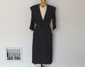 Vintage 1940s Dress - 40s Rayon Polka Dot Dress - The Vivien