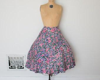 Vintage 1950s Skirt - 50s Floral Skirt - The Laney