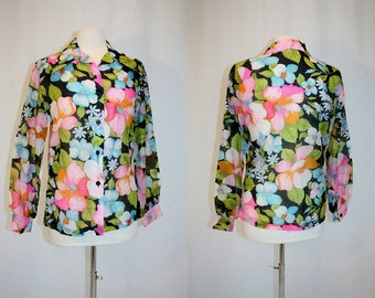 1970's Black Floral Voile Blouse Semi Sheer Medium Top Pink Orange Blue Pointed Collar Hipster  Lady Arrow