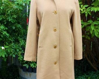 1990's L.L. Bean Wool Blend Coat Size 16 Vintage REtro Camel Color Tan Beige Classic Hipster Winter