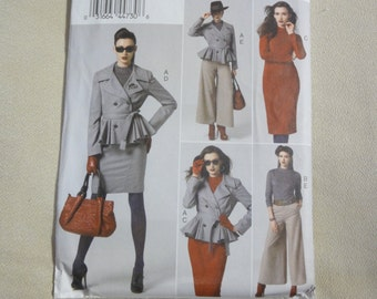 40's Style Winter Wardrobe- Peplum Jacket, Fitted Top, Body Con Dress, Pencil Skirt, Gaucho Pants, Vogue Sewing Pattern V8866- Size 16-24