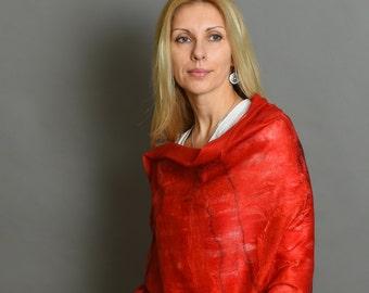 Felted Shawl | Red Felted Scarf | Felted Wool Scarf | Women felt shawl |  Nuno felted shawl | Filzschal