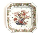 wall clock Asahi made in Japan porcelain decorated plate clock birds gilding square clock ticking wall clock second hand