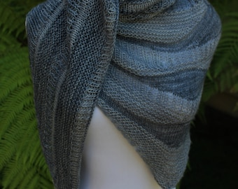 Charcoal and Gray Pure Merino Wool Color Blocked Hand Knitted Shawl or Shawlette