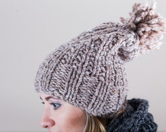 Light Taupe-Brown Chunky Slouchy Hand Knit Hat with Pompom