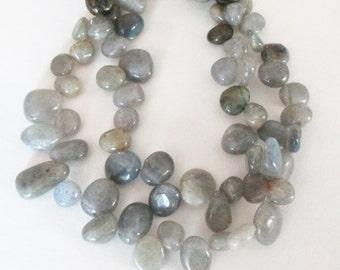 "Labradorite Beads - Labradorite Teardrop Pear Beads - Gray Freeform Irregular - Nice Blue Flash Briolette - DIY Jewelry Making - 16"" strand"