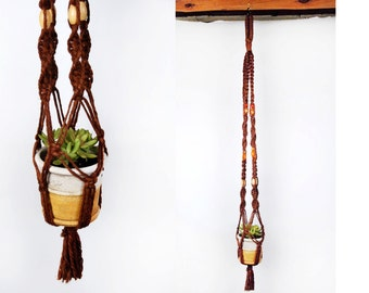 Vintage Jute MACRAME Plant Hanger with Beads || 55 Inches Long