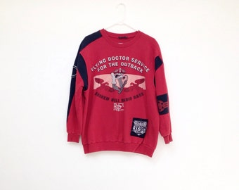 Vintage 1970s Mens Australian Flying Doctor Service Black and Red Pullover Sweatshirt