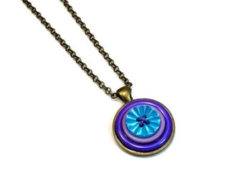 Upcycled Jewelry,  Blue Purple Button Necklace Pendant , Repurposed Buttons