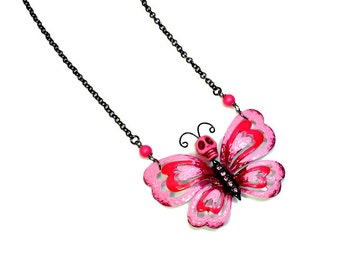 Sugar Skull  Butterfly Day of the Dead Necklace Statement , Hot Pink Gunmetal,  Dia de los Muertos, Latina Jewelry