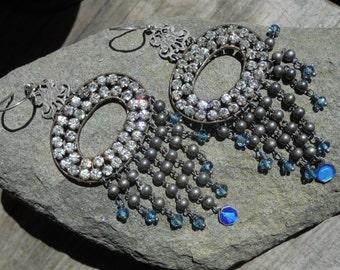 Falling Star      Antique Paste French Religious Enamel Medal Chandelier Earrings