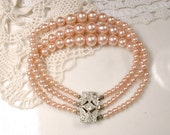 Original Art Deco Blush Champagne Pearl Bridal Bracelet, Vintage 1920s Multi Strand Ornate Rhinestone Silver Clasp Antique Flapper Jewelry