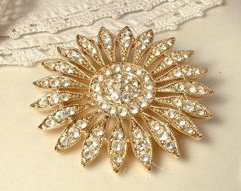 Art Deco Gold HAIR COMB/Sash Brooch Vintage Bridal Clear Crystal Rhinestone Round Sunflower Hair Accessory Garden Rustic Wedding Sunflower