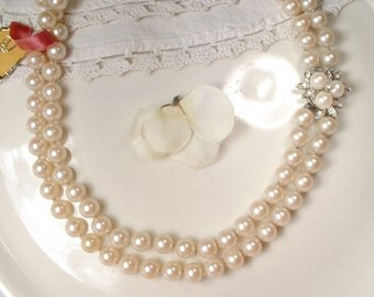 1940s Art Deco Ivory Pearl & Pave Rhinestone Bridal Necklace, Vintage Double Strand Ornate Clasp Pearl Necklace, Great Gatsby Wedding NOS