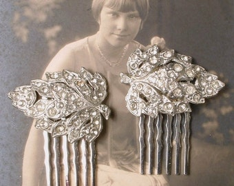 ORIGINAL Art Deco Bridal Hair Comb Pair 1920 Pave Crystal Small Leaf Dress Clips to Vintage Wedding Headpiece Downton Abbey Hair Accessories
