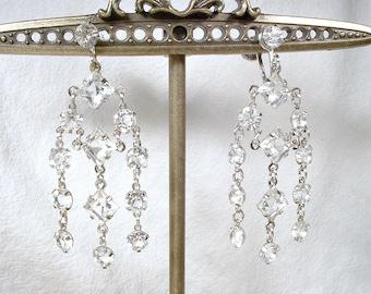 TRUE Vintage Art Deco Crystal Rhinestone Dangle Earrings,1920s Statement Earrings Silver Chandelier Bridal Earrings Flapper GATSBY Edwardian