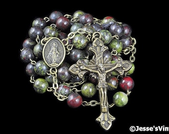 Catholic Rosary Beads Rustic Red Brown Green Dragon Blood Jasper Bronze Natural Stone Traditional Five Decade