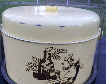 SALE Vintage Yellow Tin Cake Pie Carrier Baker Oven
