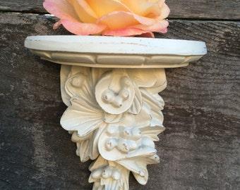 Pair of off white Ornate Wall Shelf Shelves Vintage