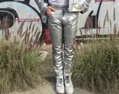 90s  Silver PVC Pants 32