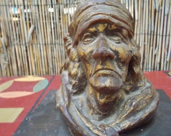 Vintage Native American Indian Bust Candle - Zuni Pueblo NM
