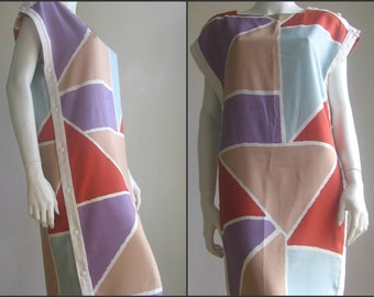 40% off 70s 80s french vintage colorblock  dress